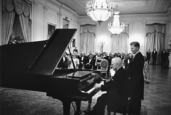 President Truman playing piano