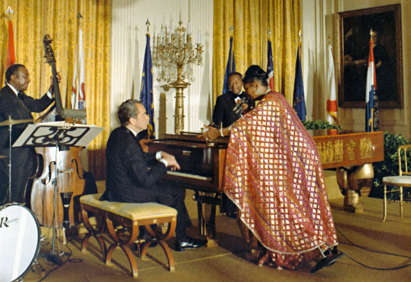 President Nixon playing piano