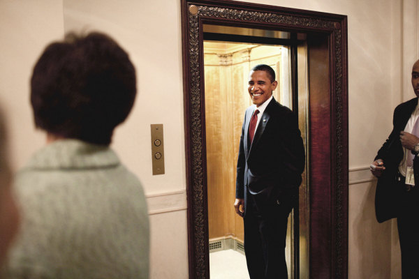 president obama gets on the elevator in white house pete souza