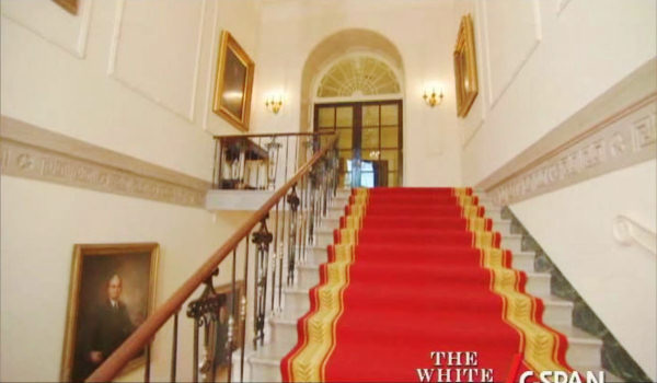 White House Grand Foyer : Grand entrance stairs