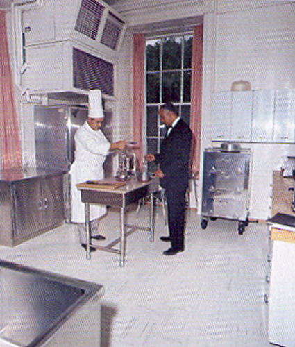 and butler John Ficklin in Jackie Kennedy's first family kitchen in 1961