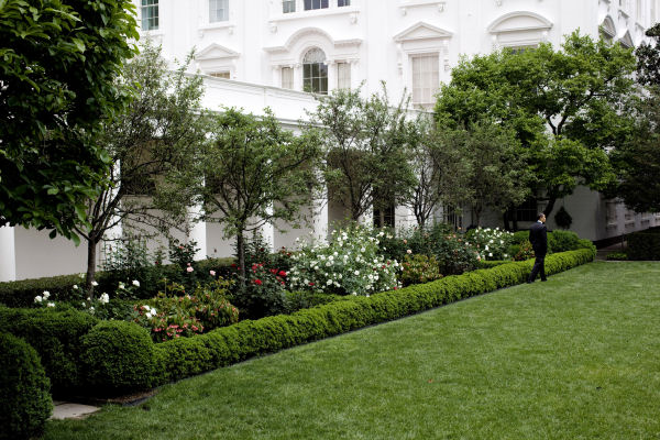 Barack Obama Walks Through The Rose Garden In 2009, View To The Northeast  (White House   Pete Souza)