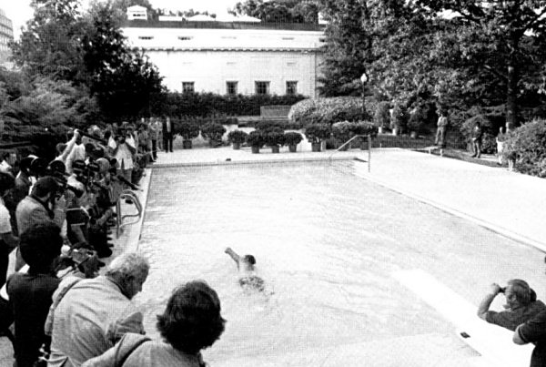 President Ford Showing Off In The New Swimming Pool