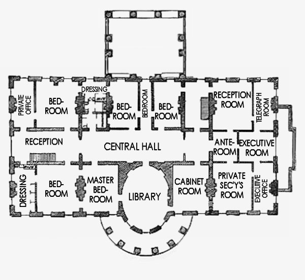 Second floor plan of the White House around 1880