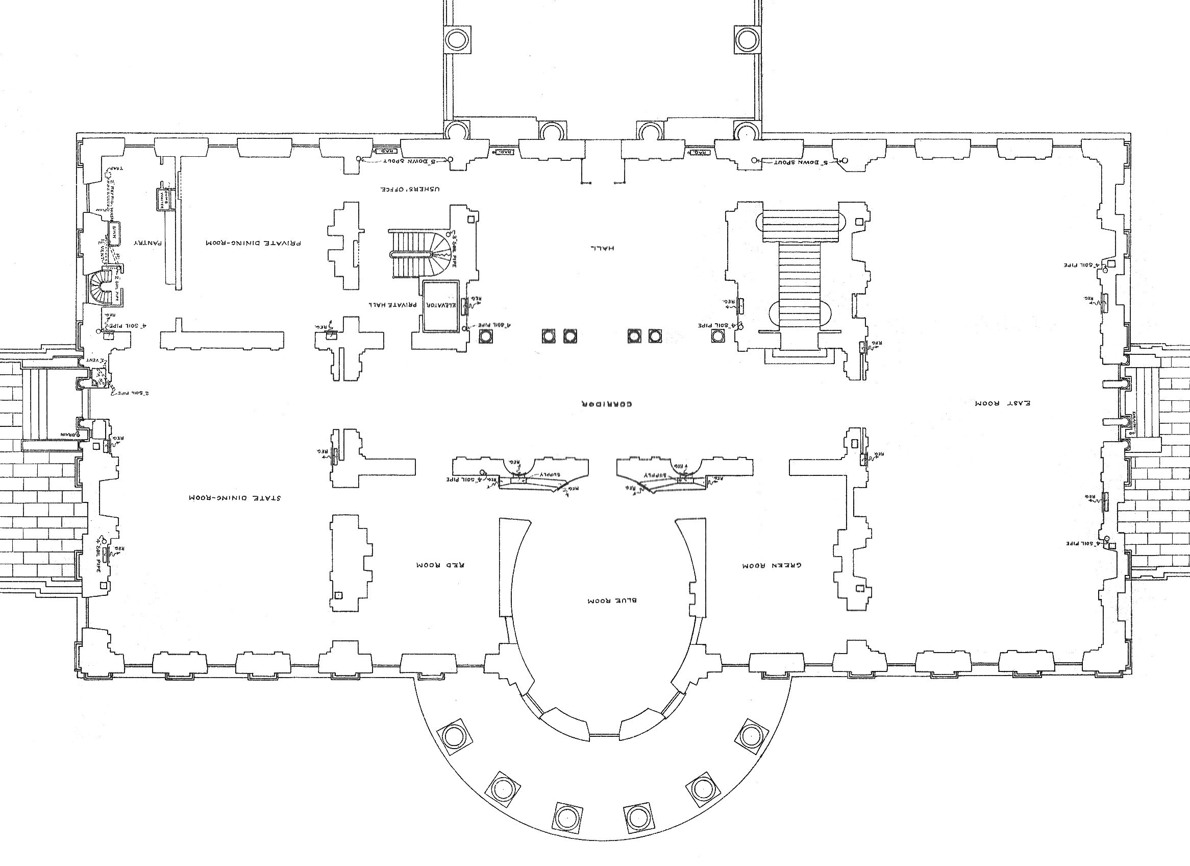 First Floor   White House MuseumFirst floor plan of the White House after the remodeling   Report of the Architects   hi res version