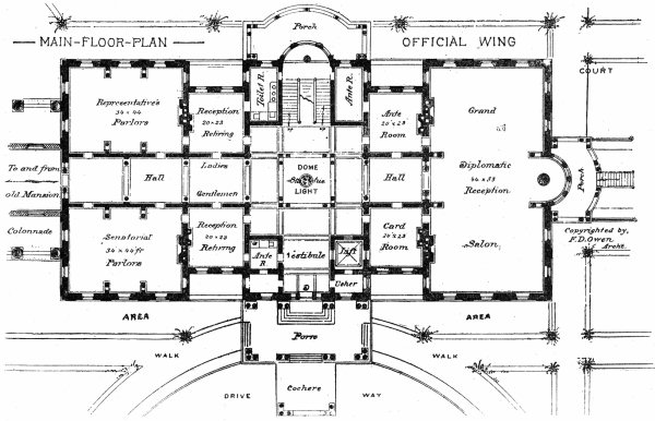 Floor Plan Of The First Floor Of The Official Wing The Outlook 1902