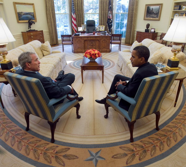 white house oval office. president bush meets with presidentelect obama in 2008 white house the new oval office h