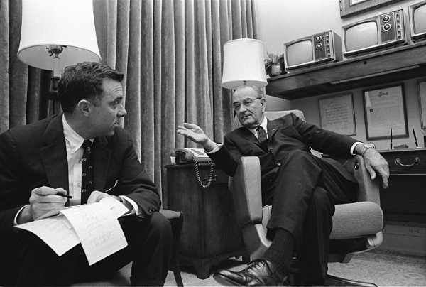 President Lyndon Johnson and advisor Joseph Califano Jr.